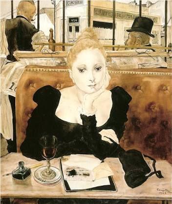 『カフェにて』レオナール藤田 居間を飾ってる、模写だけどね。
